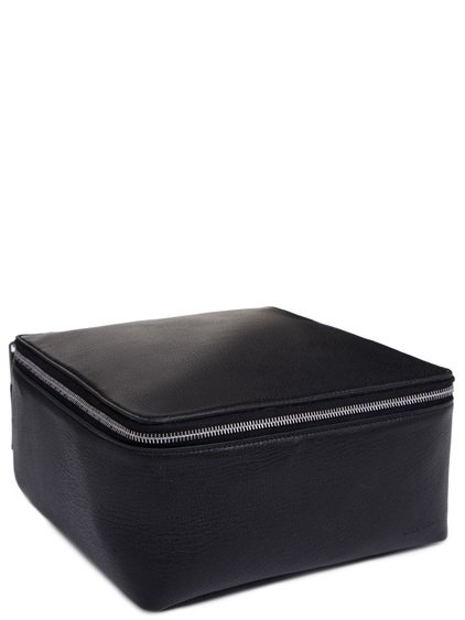 RICK OWENS BIG TOILETRY BEAUTY CASE IN BLACK GOAT LEATHER