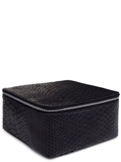 RICK OWENS BIG TOILETRY BEAUTY CASE IN BLACK PYTHON LEATHER
