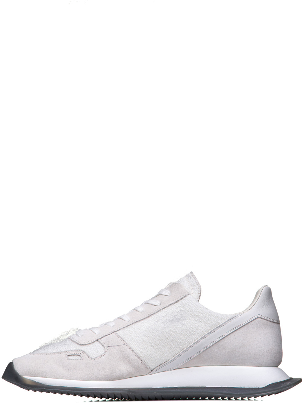 RICK OWENS OFF-THE-RUNWAY RUNNERS IN MILK WHITE PLASTIC SHEARLING
