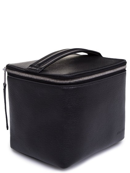 RICK OWENS SMALL TOILETRY BEAUTY CASE IN BLACK GOAT LEATHER