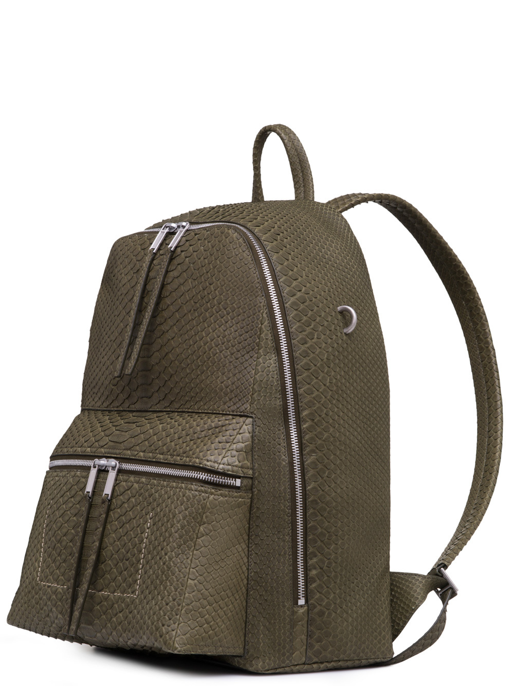 RICK OWENS BACKPACK IN DIRTY GREEN PYTHON LEATHER