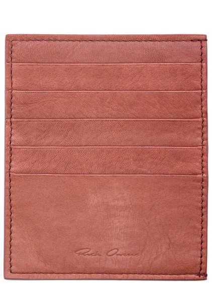 RICK OWENS CREDIT CARD HOLDER IN CINNAMON ORANGE CALF LEATHER