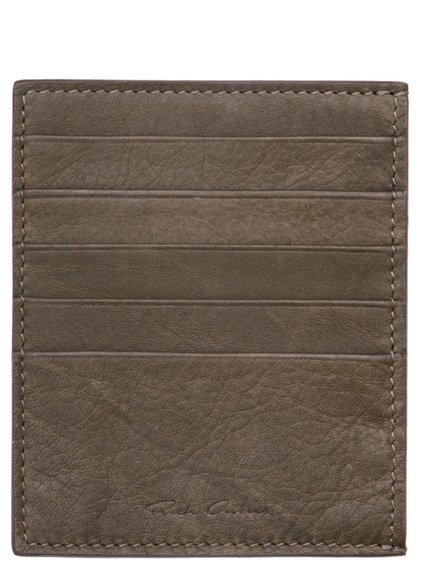RICK OWENS CREDIT CARD HOLDER IN DIRTY GREEN CALF LEATHER