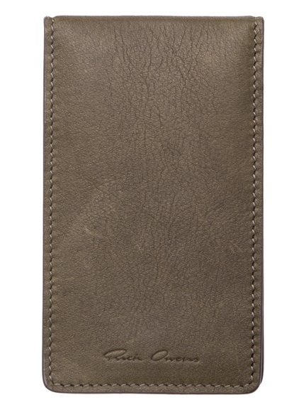 RICK OWENS BILLFOLD CREDIT CARD HOLDER IN DIRTY GREEN CALF LEATHER