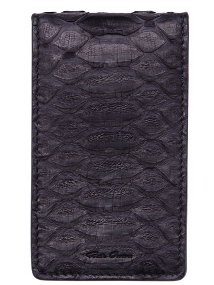 RICK OWENS BILLFOLD CREDIT CARD HOLDER IN BLACK PYTHON LEATHER