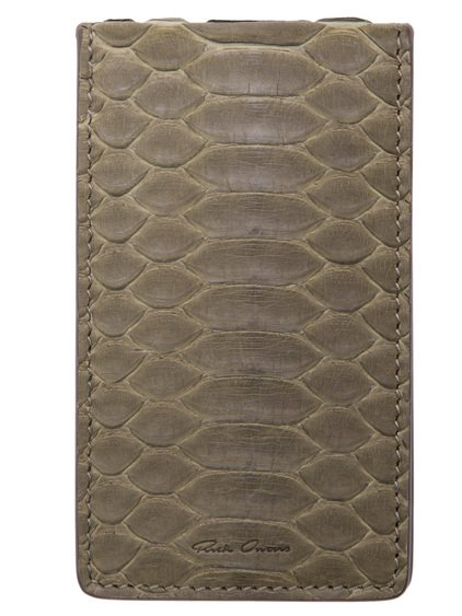 RICK OWENS BILLFOLD CREDIT CARD HOLDER IN DIRTY GREEN PYTHON LEATHER