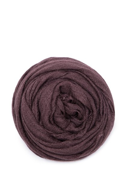 RICK OWENS FOLLO SCARF IN RAISIN PURPLE CASHMERE.