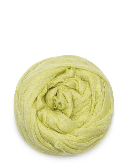 RICK OWENS FOLLO SCARF IN LIME LIGHT YELLOW CASHMERE.