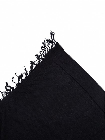 RICK OWENS KNIT BLANKET IN BLACK CASHMERE.