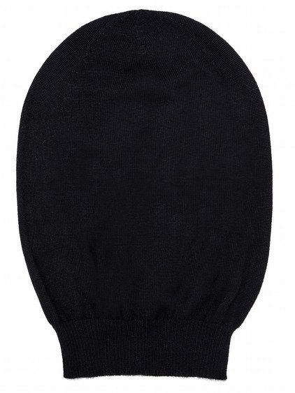 RICK OWENS MEDIUM HAT IN BLACK CASHMERE HAS A SLIGHTLY OVERSIZED FIT AND  MORE VOLUME WHEN WORN.