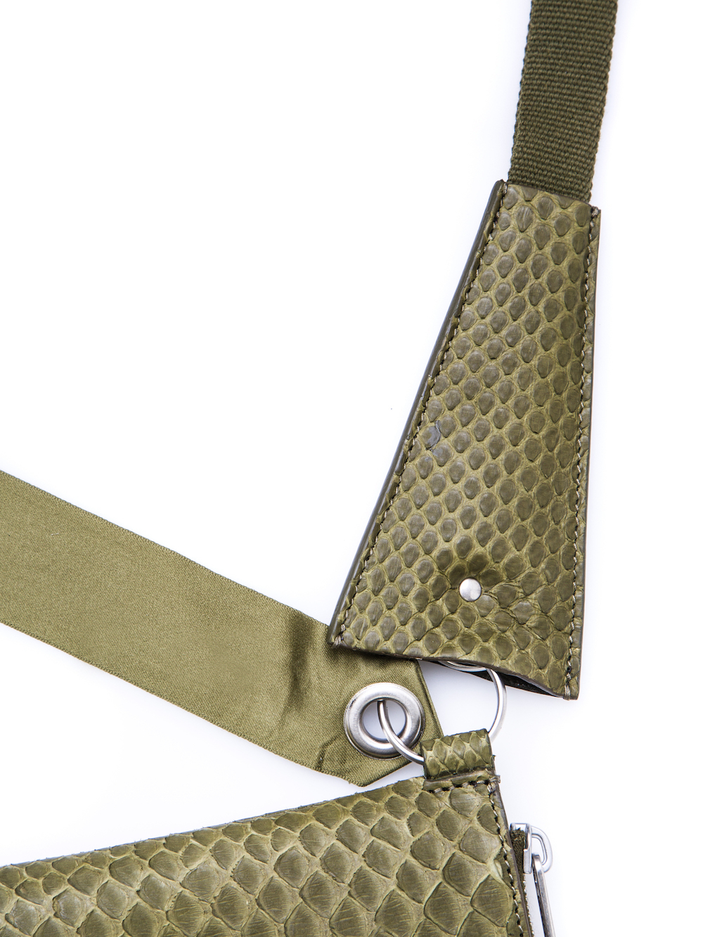 RICK OWENS NECKWALLET IN DIRTY GREEN PYTHON LEATHER