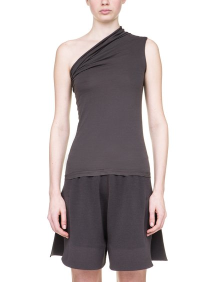 RICK OWENS OFF-THE-RUNWAY ONE SHOULDER TEE IN GREY