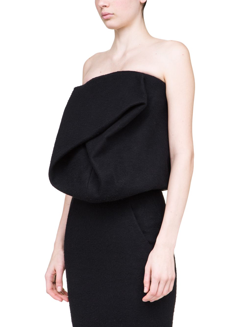 RICK OWENS OFF-THE-RUNWAY SCRUNCH TOP IN BLACK CAMEL WOOL