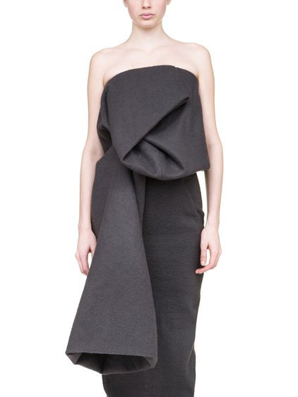 RICK OWENS OFF-THE-RUNWAY CRUMPLE TOP IN GREY CAMEL WOOL