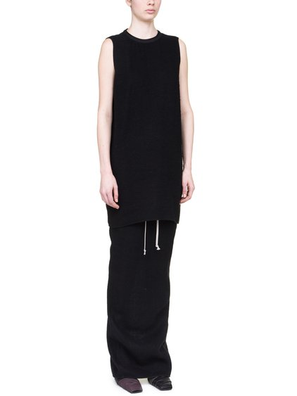 RICK OWENS OFF-THE-RUNWAY SISYTANK TUNIC IN BLACK CAMEL WOOL