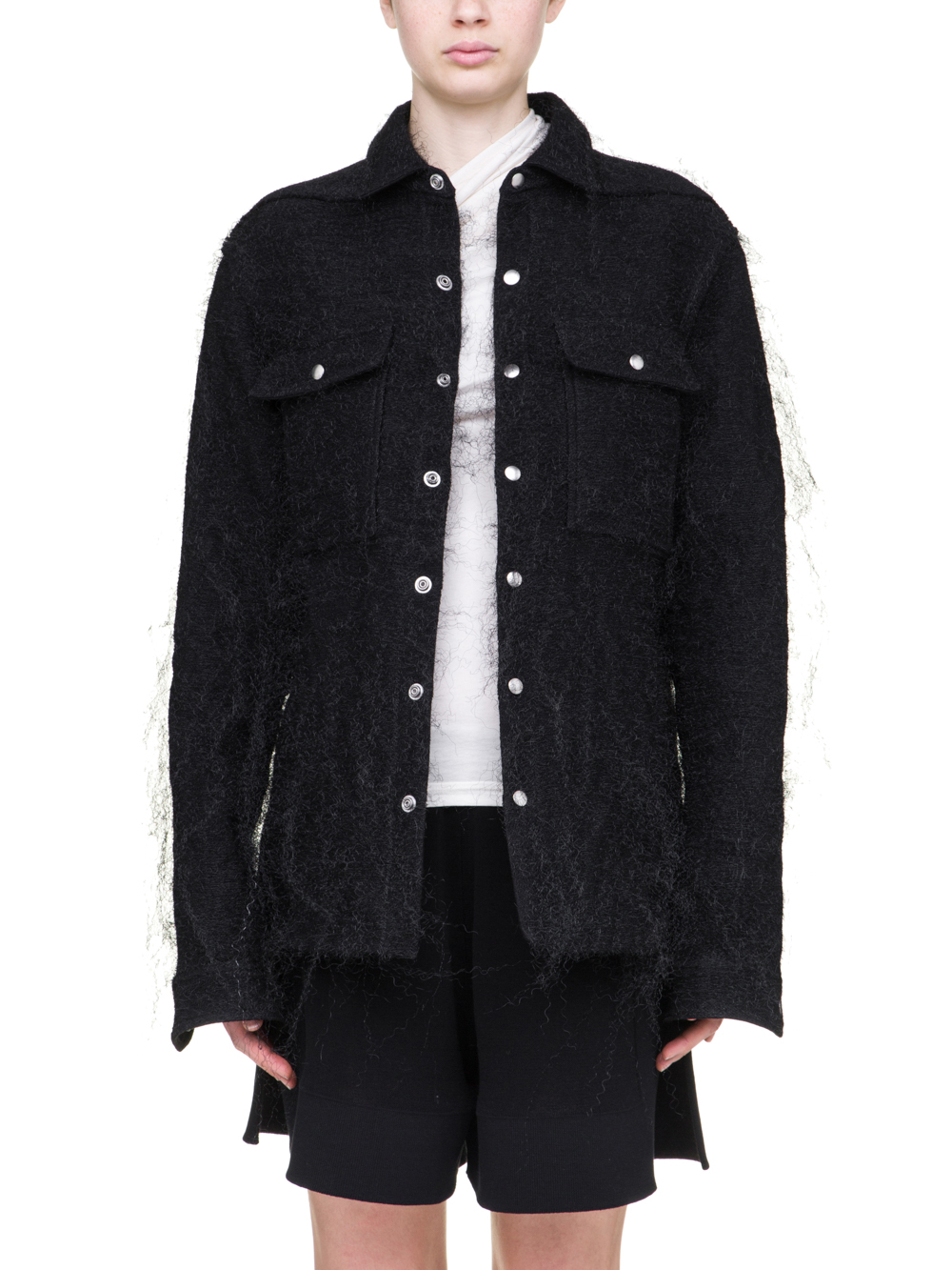 RICK OWENS OUTERSHIRT IN BLACK PLASCTIC SHEARLING