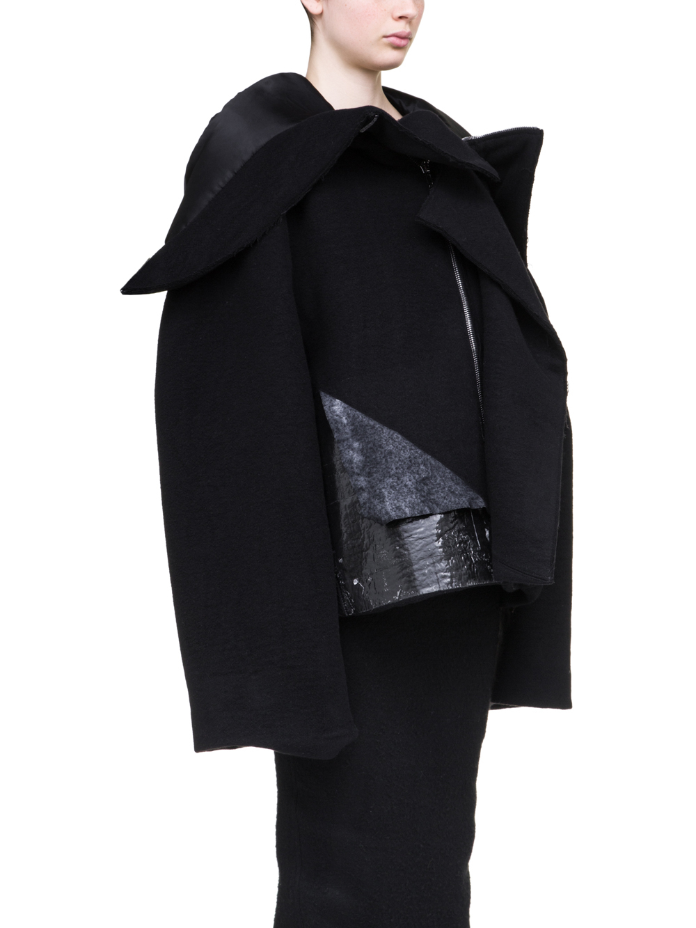 RICK OWENS OFF-THE-RUNWAY SHORT SECRET PARKA IN BLACK DOUBLE CASHMERE