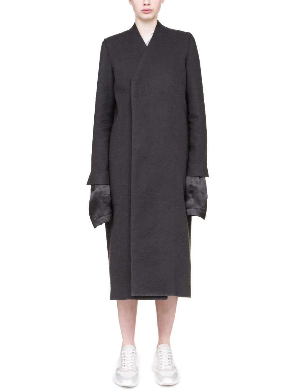 RICK OWENS OFF-THE-RUNWAY MUSEUM COAT IN GREY CAMEL WOOL