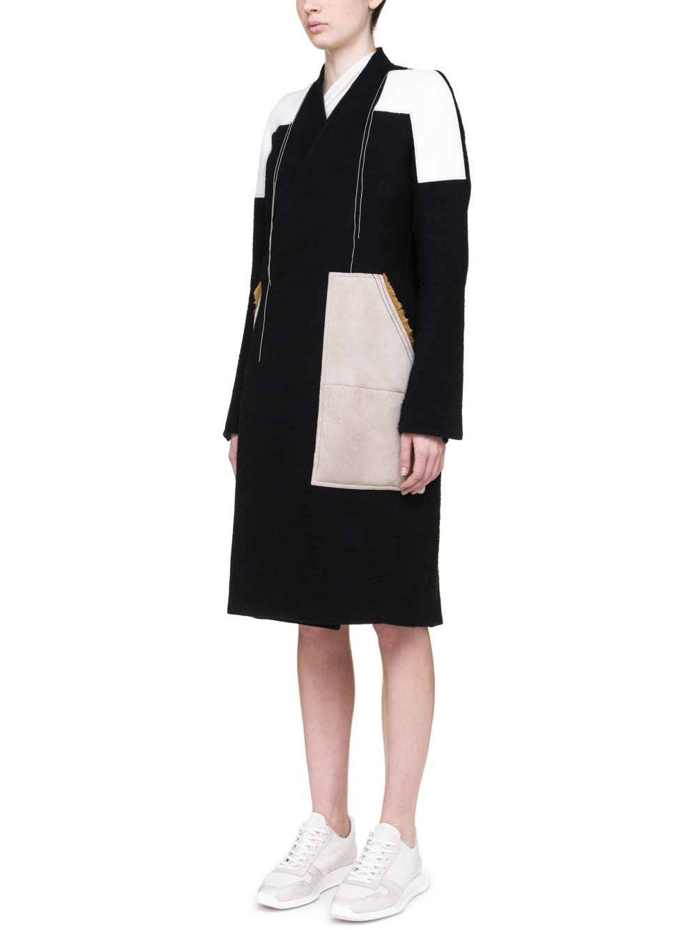 RICK OWENS OFF-THE-RUNWAY SOFT PATCH COAT IN BLACK