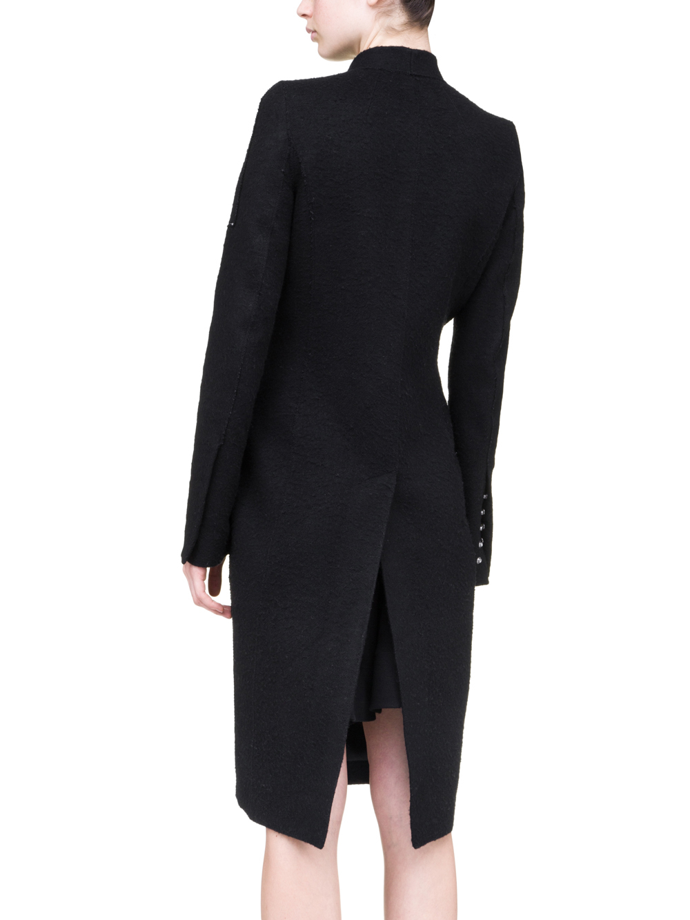 RICK OWENS OFF-THE-RUNWAY SNAP SOFT COAT IN BLACK CAMEL WOOL