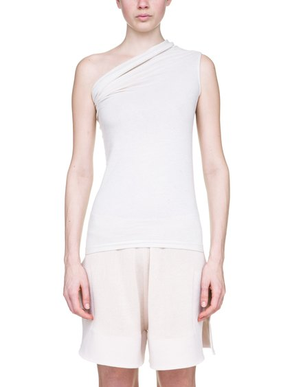 RICK OWENS OFF-THE-RUNWAY ONE SHOULDER TEE IN NATURAL MEDIUMWEIGHT COTTON JERSEY