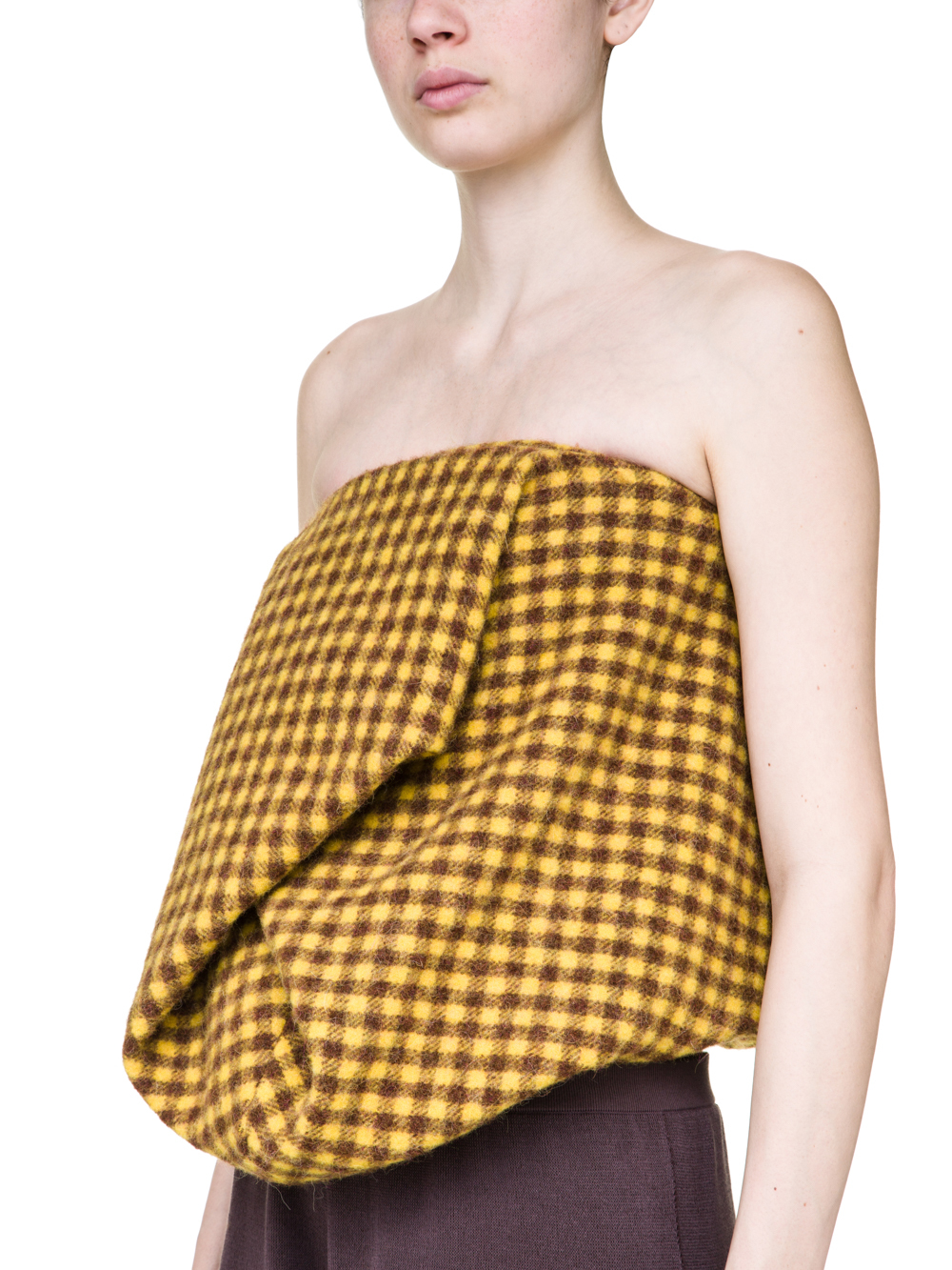 RICK OWENS OFF-THE-RUNWAY SCRUNCH TOP IN RAISIN PURPLE AND YELLOW MINI PLAID