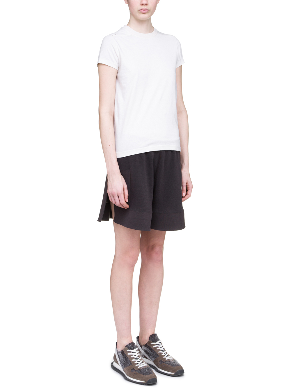 RICK OWENS OFF-THE-RUNWAY TIGHT RIVET TEE IN NATURAL MEDIUMWEIGHT COTTON JERSEY
