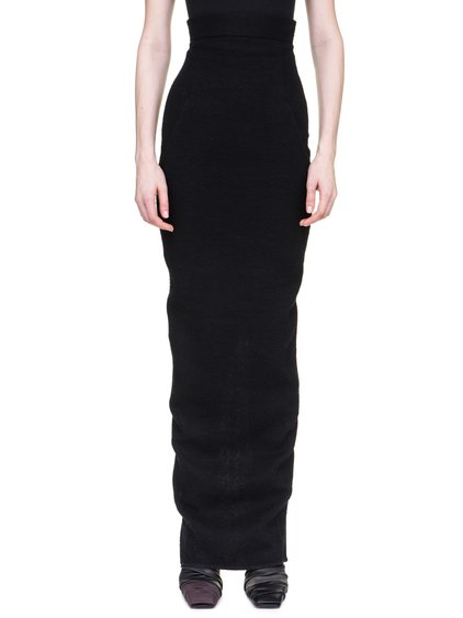 RICK OWENS  OFF-THE-RUNWAY DIRT PILLAR SKIRT IN BLACK CAMEL WOOL