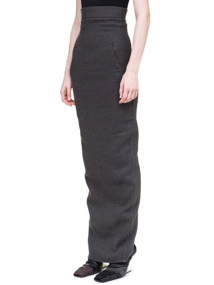 RICK OWENS OFF-THE-RUNWAY DIRT PILLAR SKIRT IN DUST GREY CAMEL WOOL
