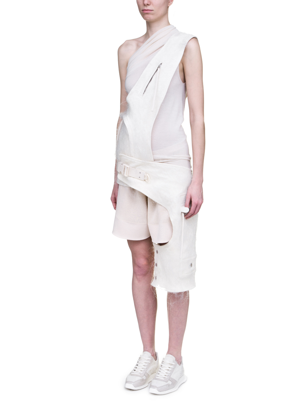 RICK OWENS OFF-THE-RUNWAY CROSS CARGO CHAP IN NATURAL PLASTIC SHEARLING