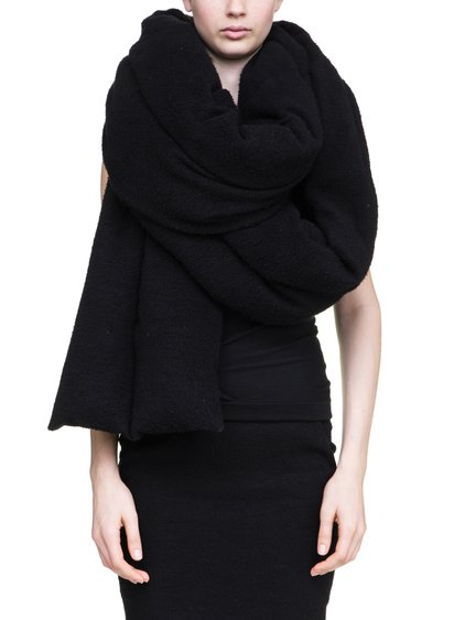 RICK OWENS OFF-THE-RUNWAY STOLE IN BLACK IS A VOLUMINOUS LONG SCARF