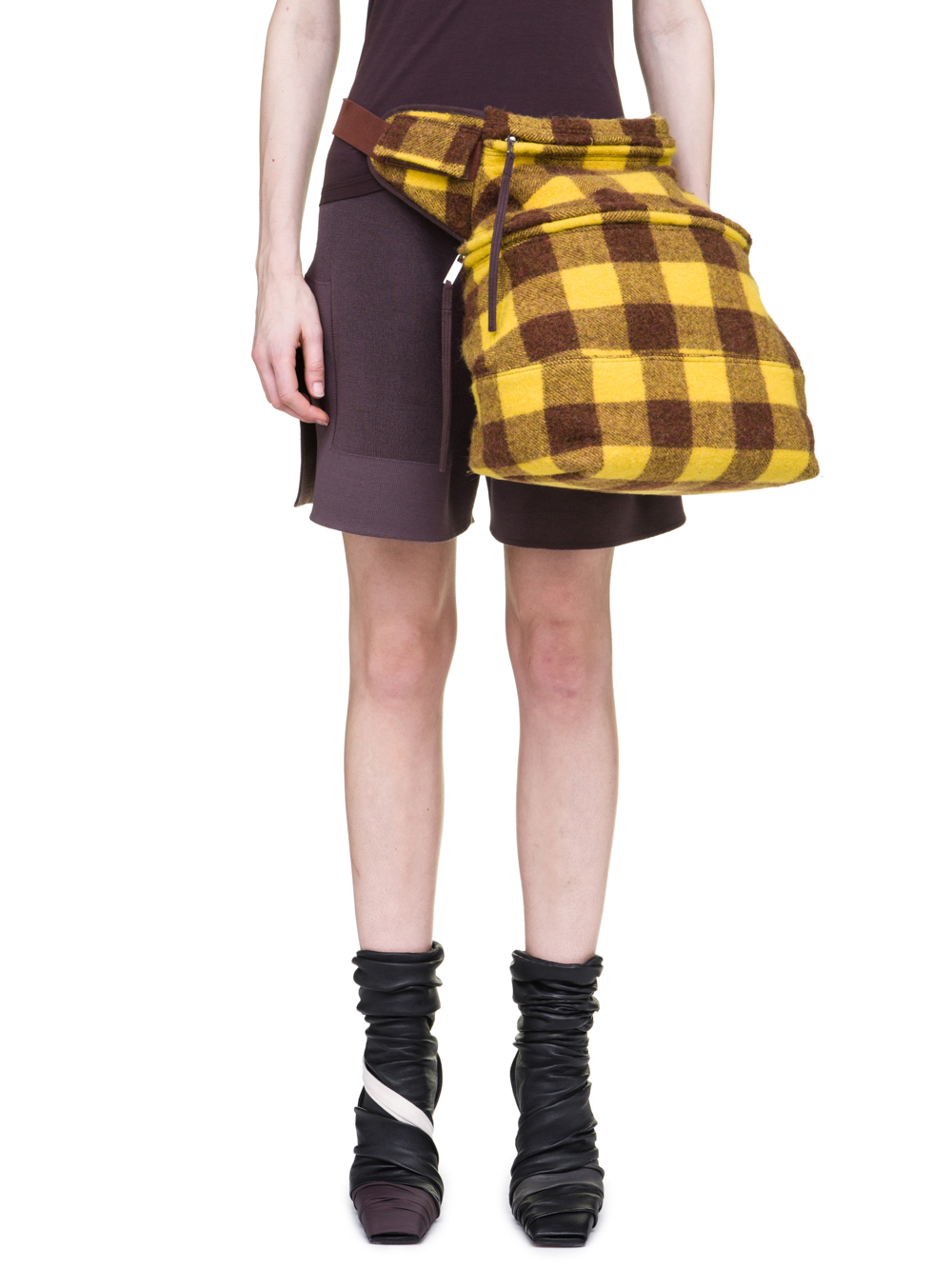 RICK OWENS OFF-THE-RUNWAY FERTILITY BELT IN RAISIN PURPLE AND YELLOW JUMBO PLAID