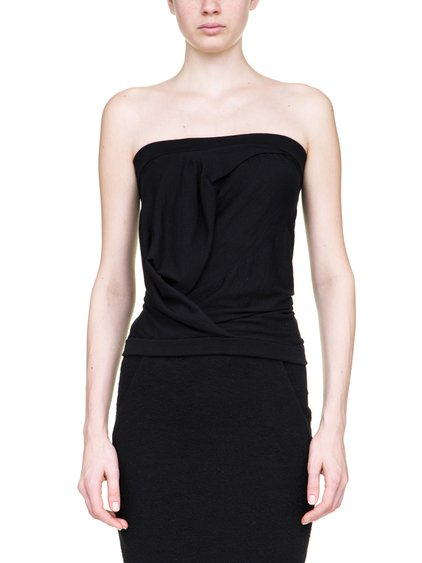 RICK OWENS OFF-THE-RUNWAY BUSTIER TOP IN BLACK STRETCH CASHMERE