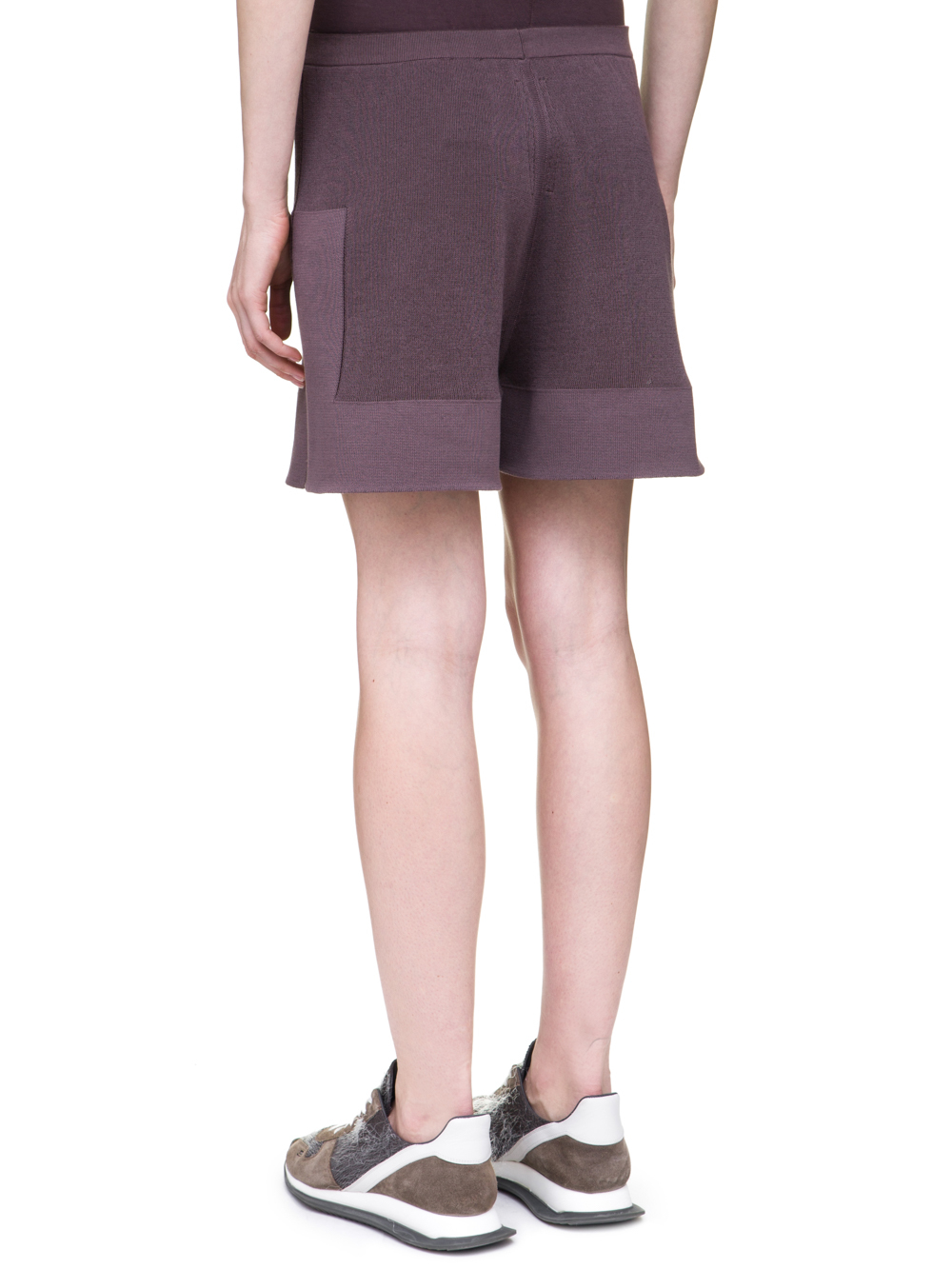 RICK OWENS OFF-THE-RUNWAY BOXERS IN RAISIN PURPLE SCULPTURAL KNIT