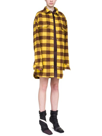 RICK OWENS OFF-THE-RUNWAY OVERSIZED OUTERSHIRT IN RAISIN PURPLE AND YELLOW JUMBO PLAID