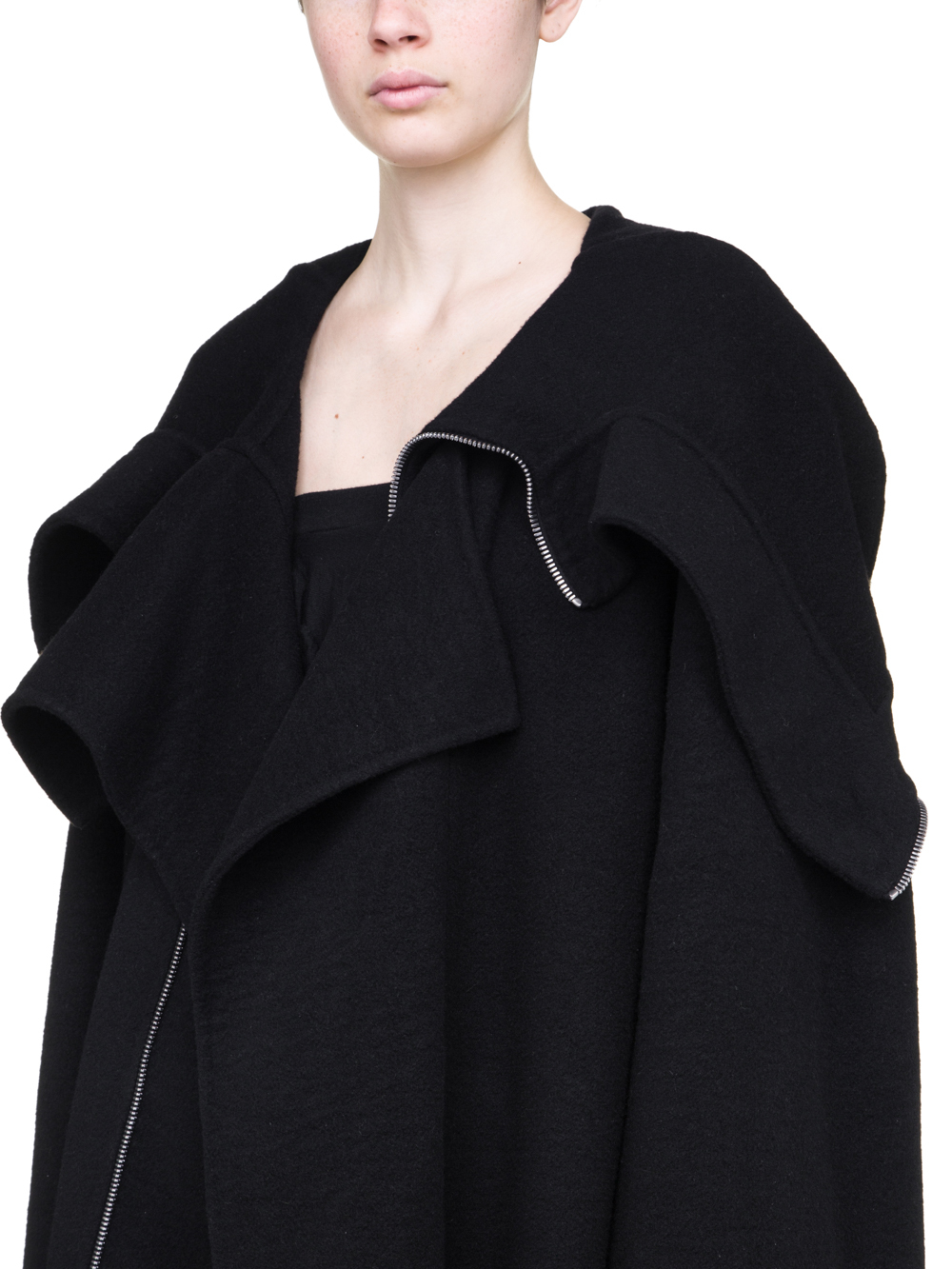 RICK OWENS  OFF-THE-RUNWAY SECRET PARKA IN BLACK DOUBLE CASHMERE