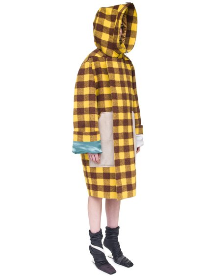 RICK OWENS  OFF-THE-RUNWAY SECRET PARKA IN RAISIN PURPLE AND YELLOW JUMBO PLAID