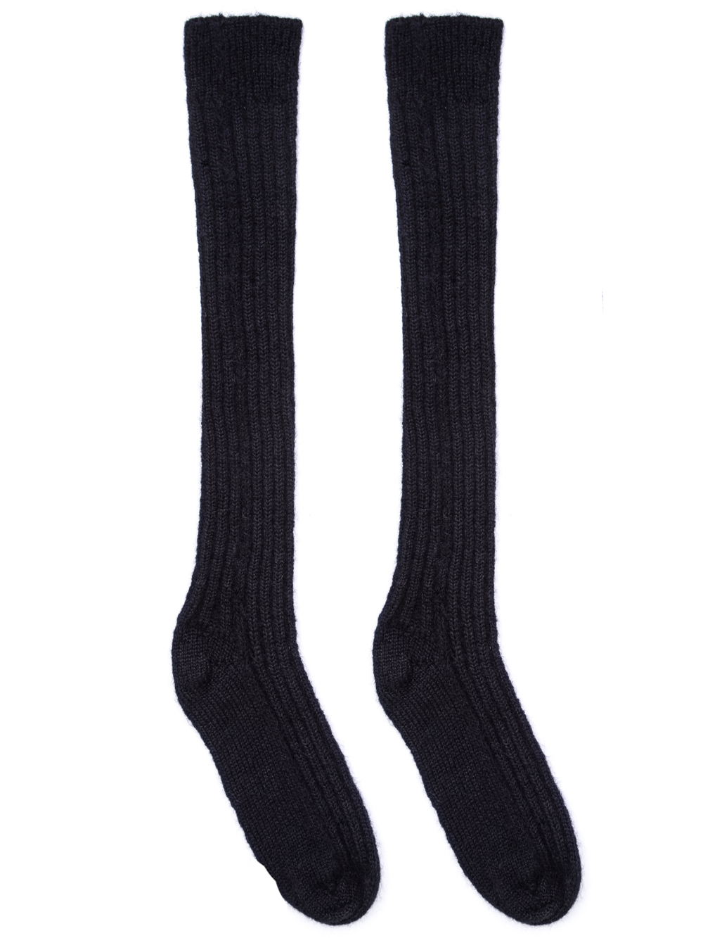 RICK OWENS FW18 SISYPHUS OFF-THE-RUNWAY RIBBED SOCKS IN BLACK.