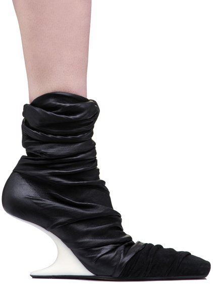 RICK OWENS FW18 SISYPHUS 8 CM CANTILEVERED SHOES IN BLACK STRETCH LAMB LEATHER