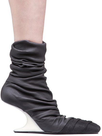 RICK OWENS 8 CM CANTILEVERED SHOES IN DARKDUST GREY STRETCH LAMB LEATHER