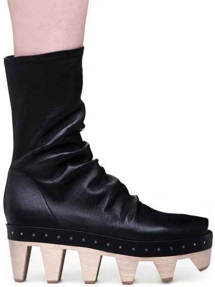 RICK OWENS GETA SOCK SABOTS IN BLACK STRETCH LAMB LEATHER