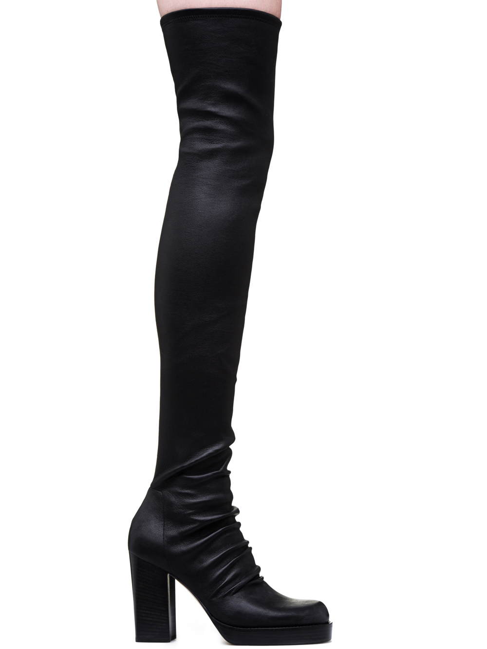 RICK OWENS STOCKING CHUNKY BOOTS IN STRETCH LAMB LEATHER