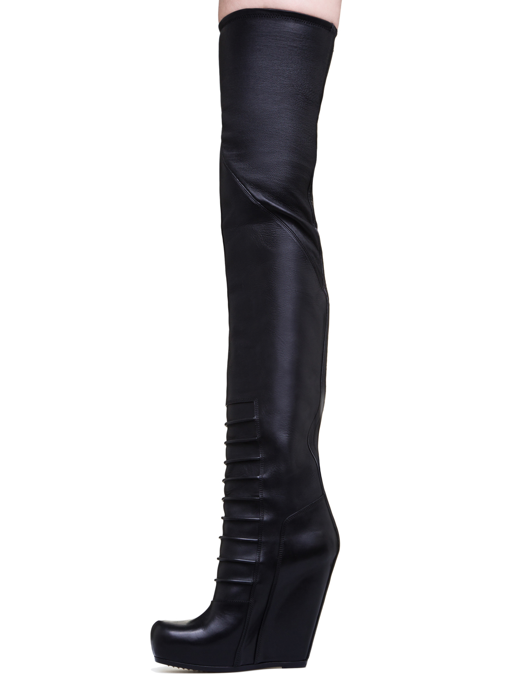 RICK OWENS  RUHLMANN KNEE-HIGH BOOTS IN BLACK