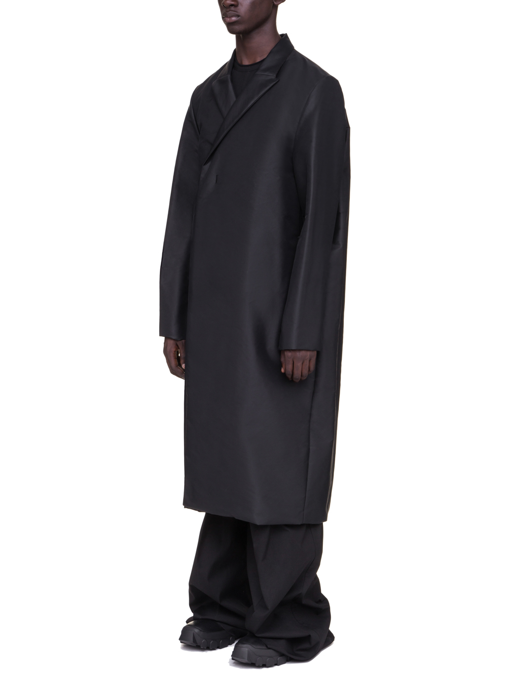 RICK OWENS OFF-THE-RUNWAY BELL COAT IN BLACK TECH CANVAS