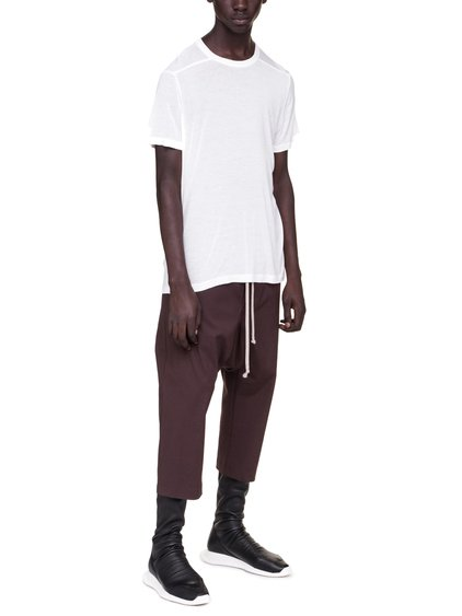RICK OWENS SHORT LEVEL TEE IN MILK WHITE VISCOSE SILK JERSEY