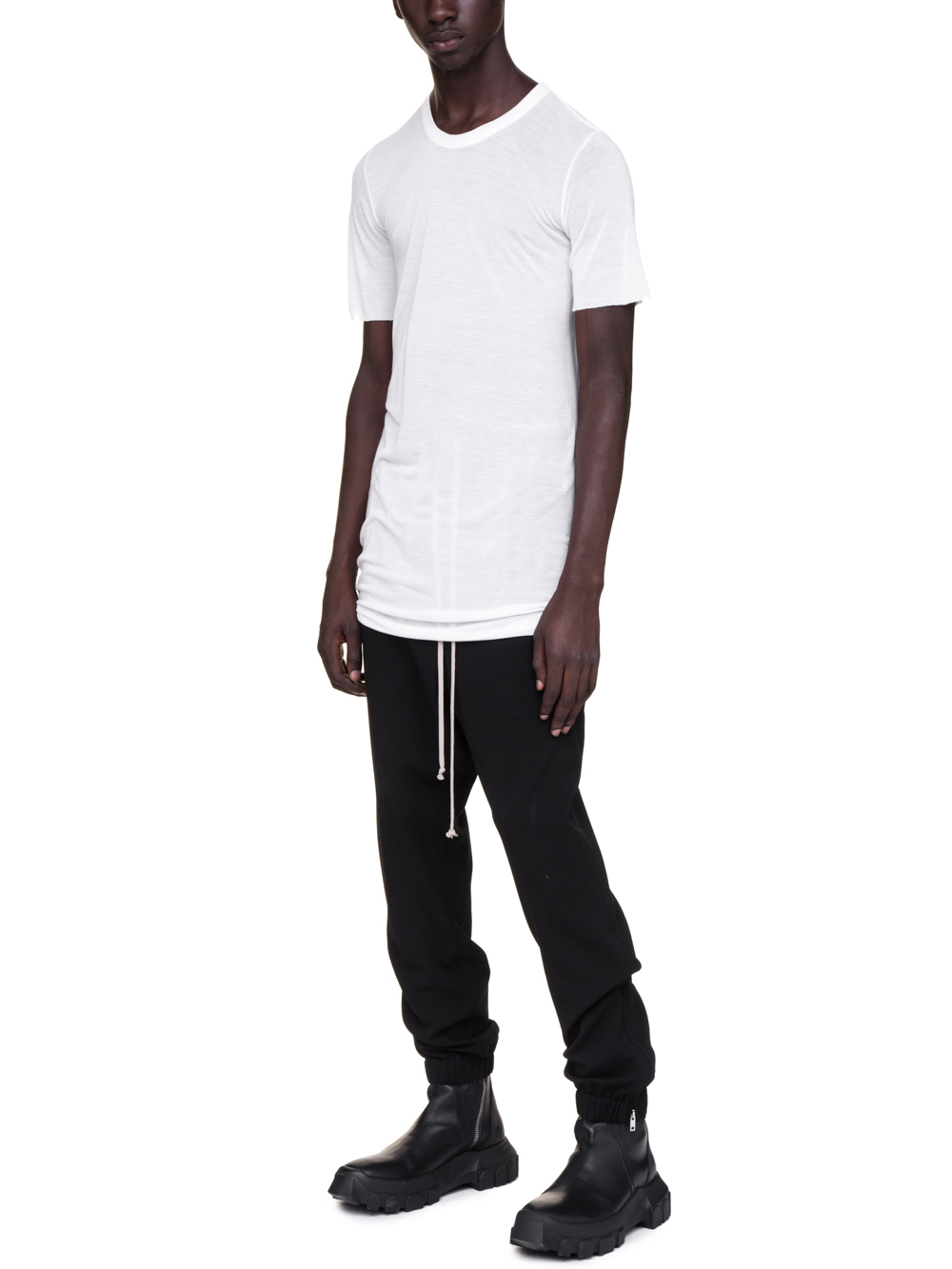 RICK OWENS BASIC SHORT-SLEEVE TEE IN MILK WHITE VISCOSE SILK
