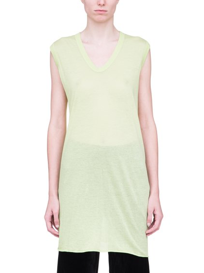 RICK OWENS V NECK SLEEVELESS TEE IN LIME LIGHT YELLOW VISCOSE SILK