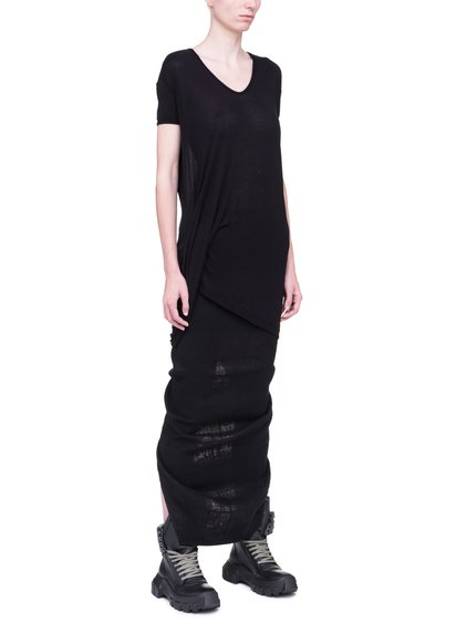 RICK OWENS HIKED TEE IN BLACK VISCOSE SILK JERSEY