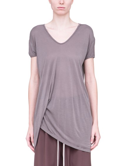 RICK OWENS HIKED TEE IN DUST GREY VISCOSE SILK JERSEY