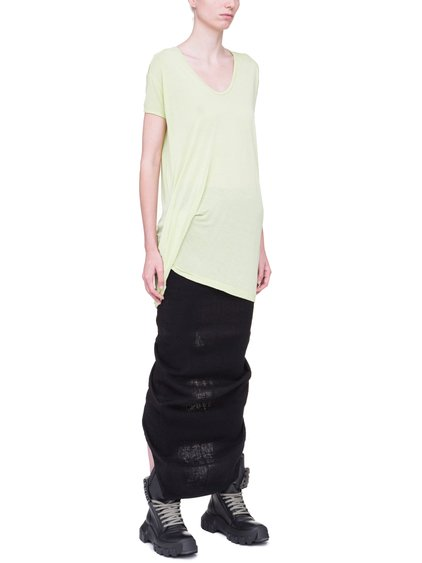 RICK OWENS HIKED TEE IN LIME LIGHT YELLOW VISCOSE SILK JERSEY